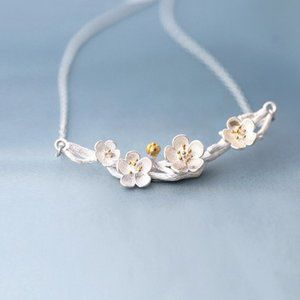 NEW 925 Sterling Silver Two Tone Flower Necklace